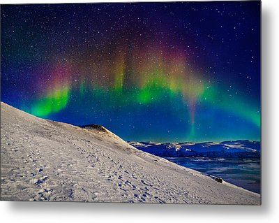 Aurora Borealis Or Northern Lights Metal Print by Panoramic Images