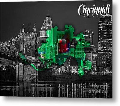 Cincinnati Map And Skyline Watercolor Metal Print by Marvin Blaine