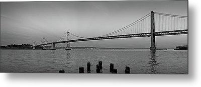 Suspension Bridge Over Pacific Ocean Metal Print by Panoramic Images