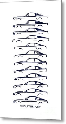 Ford Mustang Silhouettehistory Metal Print by Gabor Vida
