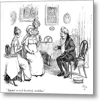 Scene From Pride And Prejudice By Jane Austen Metal Print by Hugh Thomson