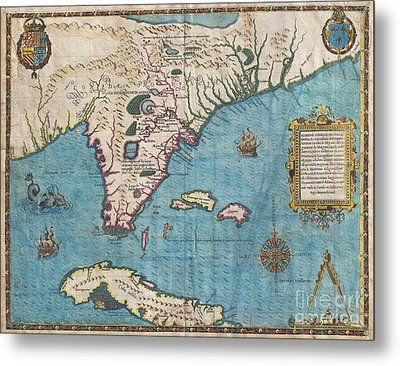 1591 De Bry And Le Moyne Map Of Florida And Cuba Metal Print by Paul Fearn
