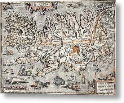 1603 Ortelius Iceland Monster Map Metal Print by Paul D Stewart
