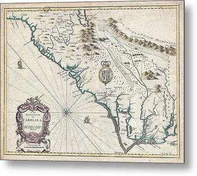 1676 John Speed Map Of Carolina Metal Print by Paul Fearn