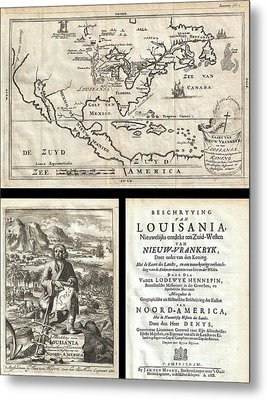 1688 Hennepin First Book And Map Of North America Metal Print by Paul Fearn