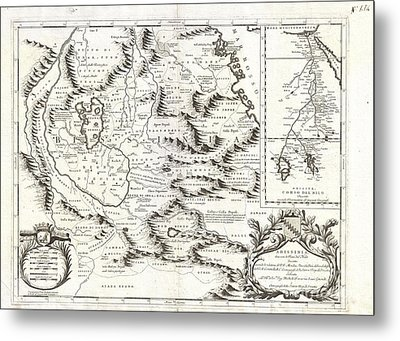 1690 Coronelli Map Of Ethiopia Abyssinia And The Source Of The Blue Nile Metal Print by Paul Fearn