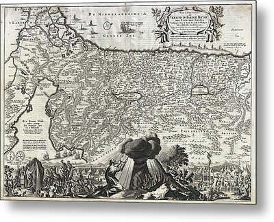 1702 Visscher Stoopendaal Map Of Israel Metal Print by Paul Fearn