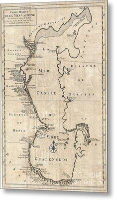 1730 Van Verden Map Of The Caspian Sea Metal Print by Paul Fearn