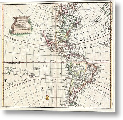 1747 Bowen Map Of North America And South America Metal Print by Paul Fearn