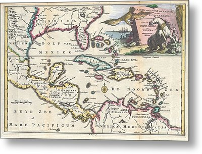 1747 Ruyter Map Of Florida Mexico And The West Indies Metal Print by Paul Fearn