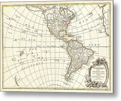 1762 Janvier Map Of North America And South America  Metal Print by Paul Fearn