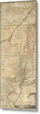 1768 Holland  Jeffreys Map Of New York And New Jersey  Metal Print by Paul Fearn