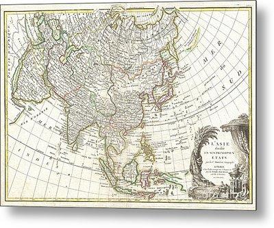 1770 Janvier Map Of Asia Metal Print by Paul Fearn