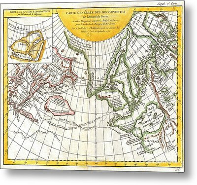 1772 Vaugondy And Diderot Map Of The Pacific Northwest And The Northwest Passage Metal Print by Paul Fearn