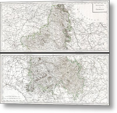 1797 Tardieu Map Of Champagne France Metal Print by Paul Fearn