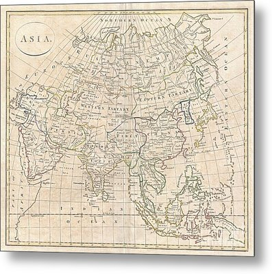 1799 Clement Cruttwell Map Of Asia Metal Print by Paul Fearn