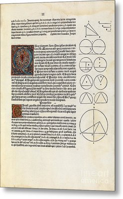 Euclid's Elements Of Geometry, 1482 Metal Print by Royal Astronomical Society