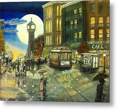 1800s Street Scene Painting Metal Print by Larry E Lamb