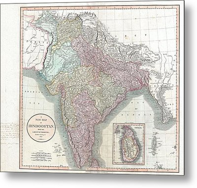 1806 Cary Map Of India Or Hindoostan Metal Print by Paul Fearn