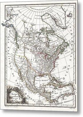 1809 Tardieu Map Of North America  Metal Print by Paul Fearn