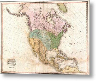 1818 Pinkerton Map Of North America Metal Print by Paul Fearn