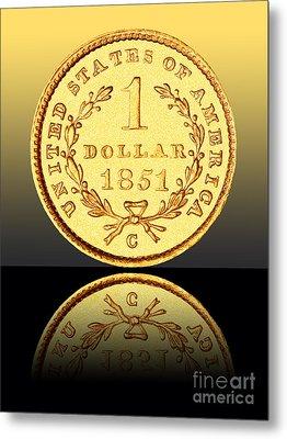 1851 1 Dollar Rare Charlotte Gold Metal Print by Jim Carrell