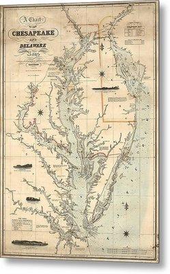 1862 Chesapeake Bay Map Metal Print by Dan Sproul