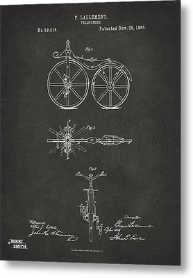 1866 Velocipede Bicycle Patent Artwork - Gray Metal Print by Nikki Marie Smith