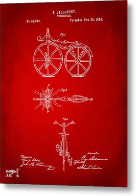 1866 Velocipede Bicycle Patent Artwork Red Metal Print by Nikki Marie Smith