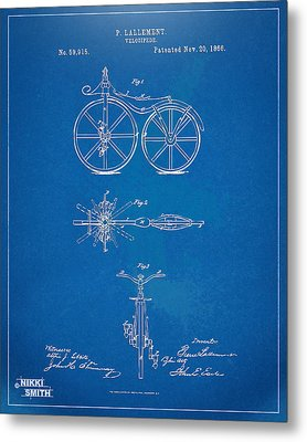 1866 Velocipede Bicycle Patent Blueprint Metal Print by Nikki Marie Smith