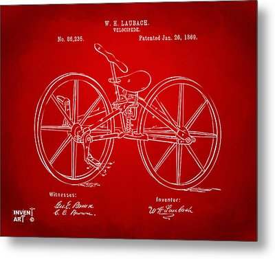 1869 Velocipede Bicycle Patent Artwork Red Metal Print by Nikki Marie Smith