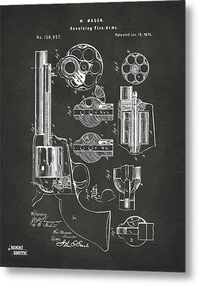 1875 Colt Peacemaker Revolver Patent Artwork - Gray Metal Print by Nikki Marie Smith