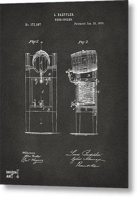 1876 Beer Keg Cooler Patent Artwork - Gray Metal Print by Nikki Marie Smith