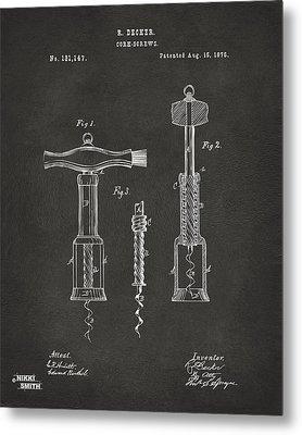 1876 Wine Corkscrews Patent Artwork - Gray Metal Print by Nikki Marie Smith