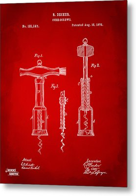 1876 Wine Corkscrews Patent Artwork - Red Metal Print by Nikki Marie Smith