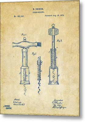 1876 Wine Corkscrews Patent Artwork - Vintage Metal Print by Nikki Marie Smith