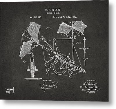 1879 Quinby Aerial Ship Patent - Gray Metal Print by Nikki Marie Smith