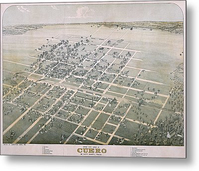 1881 Antique Map Of Cuero Texas Metal Print by Stephen Stookey
