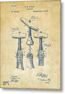1883 Wine Corckscrew Patent Artwork - Vintage Metal Print by Nikki Marie Smith