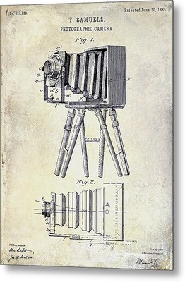 1885 Camera Patent Drawing  Metal Print by Jon Neidert