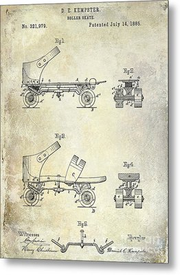 1885 Roller Skate Patent Drawing Metal Print by Jon Neidert