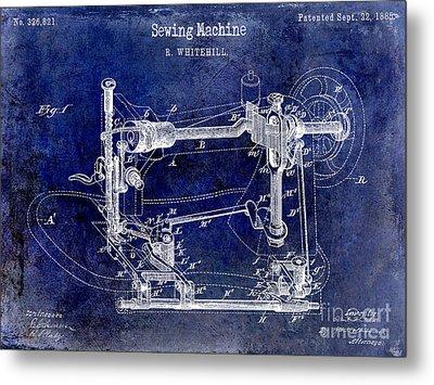 1885 Sewing Machine Patent Drawing Blue Metal Print by Jon Neidert