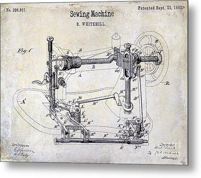 1885 Sewing Machine Patent Drawing Metal Print by Jon Neidert