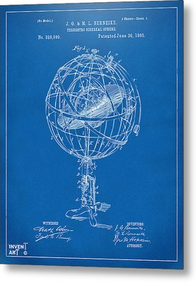 1885 Terrestro Sidereal Sphere Patent Artwork - Blueprint Metal Print by Nikki Marie Smith