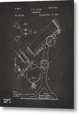 1886 Microscope Patent Artwork - Gray Metal Print by Nikki Marie Smith