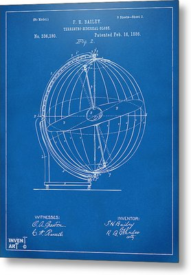 1886 Terrestro Sidereal Globe Patent 2 Artwork - Blueprint Metal Print by Nikki Marie Smith
