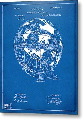 1886 Terrestro Sidereal Globe Patent Artwork - Blueprint Metal Print by Nikki Marie Smith