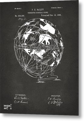 1886 Terrestro Sidereal Globe Patent Artwork - Gray Metal Print by Nikki Marie Smith
