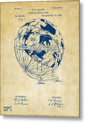 1886 Terrestro Sidereal Globe Patent Artwork - Vintage Metal Print by Nikki Marie Smith