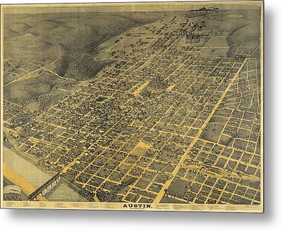 1887 Austin Texas Map Metal Print by Dan Sproul